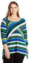 Notations Women's Plus Size 3/4 Ruched Sleeve Printed Sharkbite Knit Top