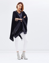 Lexington Wrap Coat - Mix Material Blanket Wrap with Leather Trim