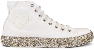 Saint Laurent Bedford Gold Sole High Top Sneakers in White | FWRD