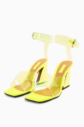 Topshop Womens Rina Yellow Flare Block Heels - Fluro Yellow