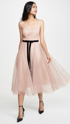 Marchesa Glitter Tulle Tea Length Gown
