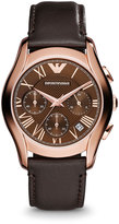 Emporio Armani Medium Rose Golden Chronograph Watch w/ Leather Strap, Brown
