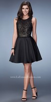 La Femme Scalloped Racer Back Rhinestone Encrusted Homecoming Dress