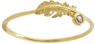 Alex Monroe 18kt yellow gold Plume Feather champagne diamond ring