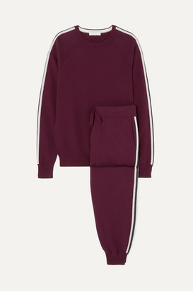 Olivia von Halle Missy Bordeaux Striped Silk And Cashmere-blend Sweatshirt And Track Pants Set - Burgundy