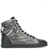 Hogan striped hi-top sneakers - women - Leather/Patent Leather/Suede/rubber - 36