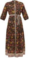 Saloni Tyra Botanical-print Silk Midi Dress - Womens - Black Multi