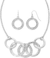 Liz Claiborne Silver-Tone Circle Necklace and Earring Set