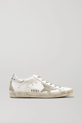 Golden Goose Superstar Distressed Metallic Leather And Suede Sneakers - White