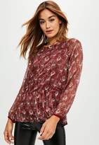 Missguided Burgundy Chiffon Long Sleeve Blouse, Multi