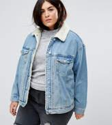 Asos Denim Borg Jacket in Midwash Blue