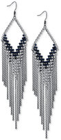 GUESS Hematite-Tone Jet Crystal Fringe Chandelier Earrings
