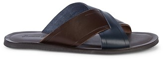 Massimo Matteo Two-Tone Cross Leather Slide Sandals