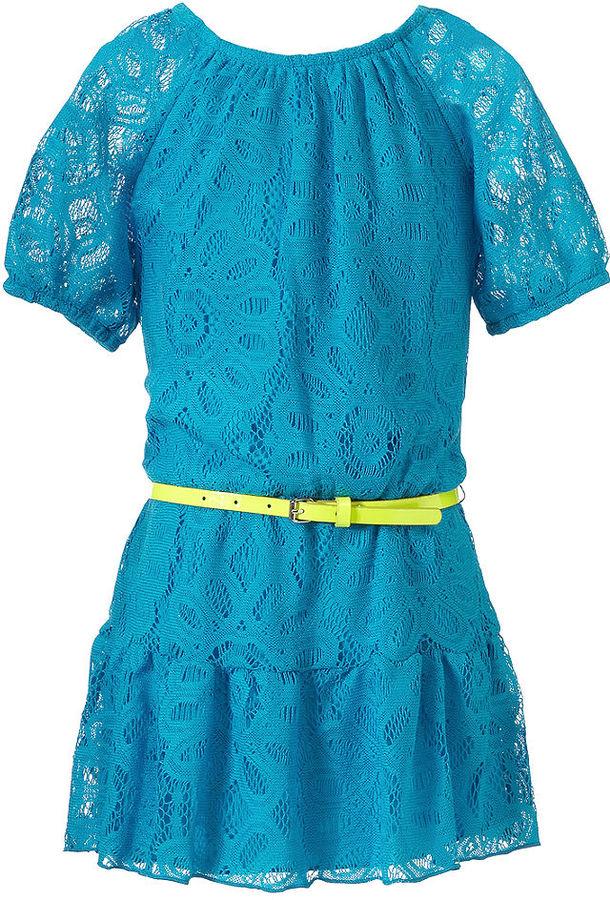 Sequin Hearts Kids Dress, Girls Lace Drop Waist Dress