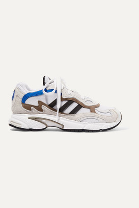 adidas Temper Run Leather-trimmed Mesh And Suede Sneakers - Light gray
