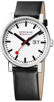 Mondaine '(Evo)lution' Leather Strap Watch, 40mm