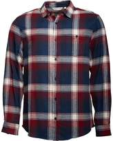 Kangaroo Poo Mens Long Sleeve Yarn Dyed Checked Flannel Shirt Red/Navy/Ecru