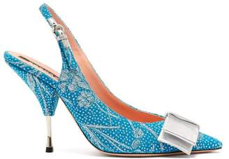 Rochas Bow-embellished Floral-brocade Slingback Pumps - Womens - Blue Multi