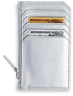 Royce New York Leather Zipper Credit Card Case
