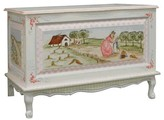The Well Appointed House Hand Painted Enchanted Forest French Toy Chest with Crackle Motif