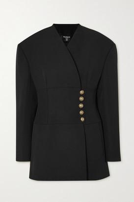 Balmain Button-embellished Wool-crepe Wrap Blazer - Black