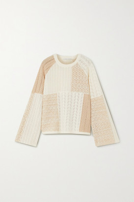Alice + Olivia Martha Patchwork Pointelle-knit Wool-blend Sweater - Off-white
