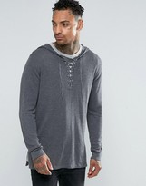 Asos Longline Knitted Hoody with Lace Up Front