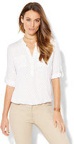 New York & Co. Soho Soft Shirt - Blouson-Hem Popover - Polka Dot