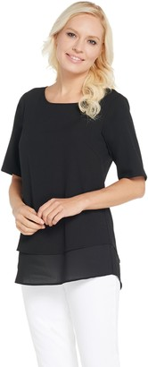 Joan Rivers Classics Collection Joan Rivers Double Layer Short Sleeve Stretch Top