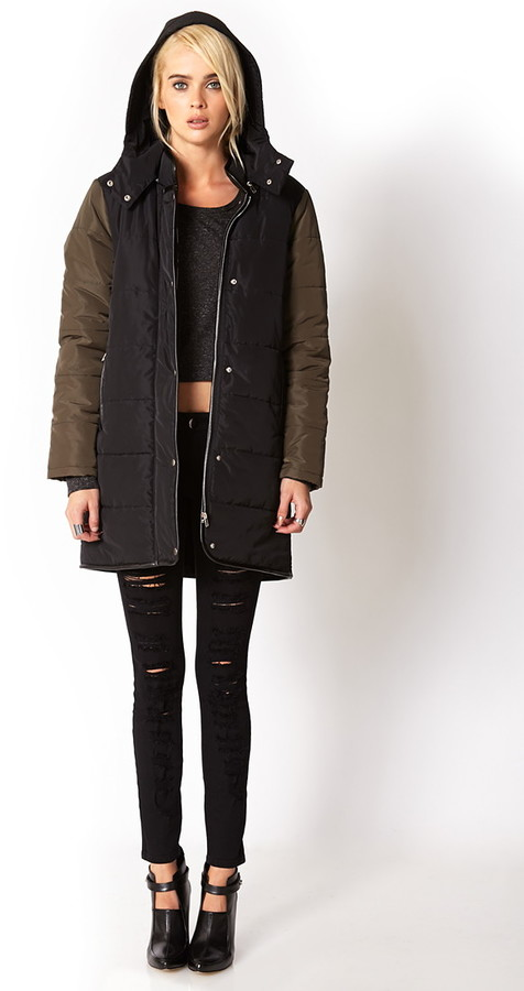 Forever 21 wintertime longline down coat