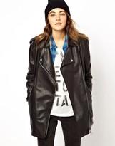 Asos Premium Longline Boyfriend Leather Jacket