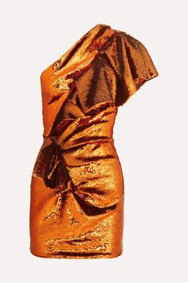 Alexandre Vauthier One-shoulder Sequined Crepe De Chine Mini Dress - Orange
