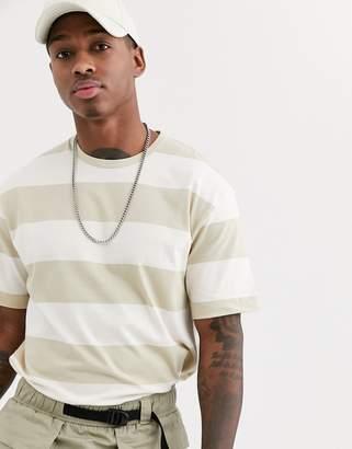 Topman oversized t-shirt in ecru & stone stripe-Beige
