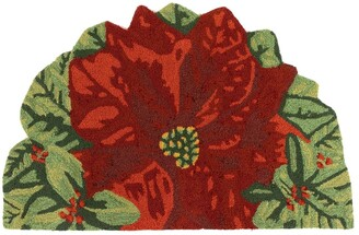 "Liora Manné Frontporch Poinsettia In/Out Rug Red 20""x30"" 1/2 Round - 20"" x 30"" 1/2 Round"