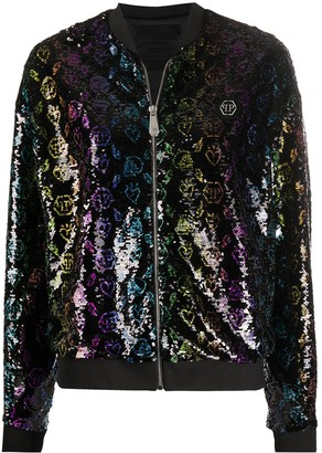 Philipp Plein Monogram sequined bomber jacket