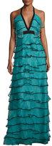 Sachin + Babi Tiered Silk Organza Halter Gown, Teal