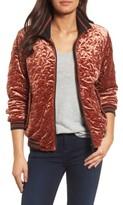 Bernardo Women's Quilted Velvet Bomber Jacket