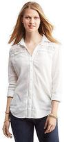 Aeropostale Womens Cape Juby Long Sleeve Lace Inset Button Down