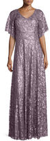 Donna Morgan Camilla Half-Sleeve Beaded & Paillette Gown