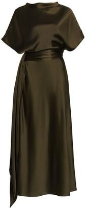 Brandon Maxwell Boatneck Silk Dress