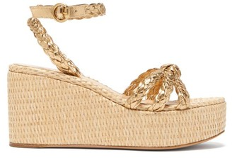 Gianvito Rossi Braided Metallic-leather Wedge Sandals - Womens - Gold
