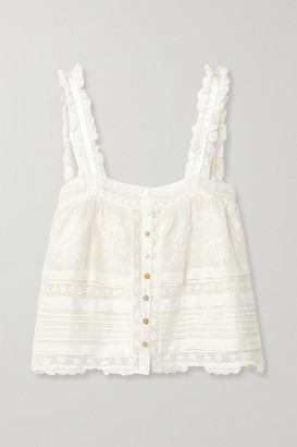 LoveShackFancy Sully Crochet-trimmed Embroidered Cotton-voile Top - White