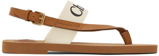 Chloé White and Tan Woody Flat Sandals