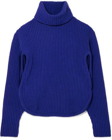 Antonio Berardi Cutout Ribbed Wool And Cashmere-blend Turtleneck Sweater - Blue