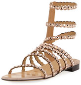 Sergio Rossi Studded Suede Cage Sandal, Beige