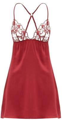 Fleur of England Marilyn Floral-embroidered Silk-blend Nightdress - Womens - Burgundy