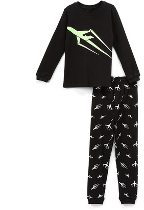 Elowel Boys' Sleep Bottoms Black - Black Rocket Glow-in-the-Dark Pajama Set - Toddler & Boys