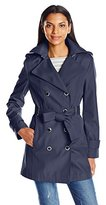 Calvin Klein Women's Rain Trench Double Breasted Jacket with Belt