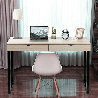 Inbox Zero Office Study Workstation Desk and Chair Set Color: White