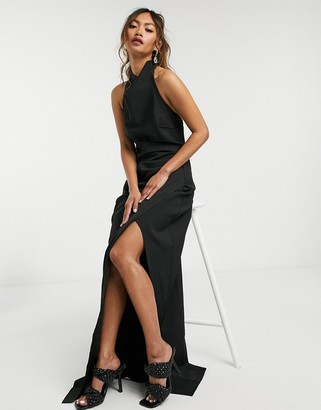Goddiva cowl-neck maxi dress with split in black